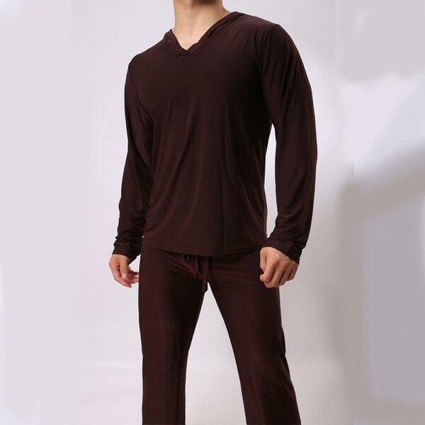 Sorrynam мужская twinset топы + брюки удобная ice шелковый ткань сна пижамы  причинная главная семейные пижамы 4aa23ebb5993d