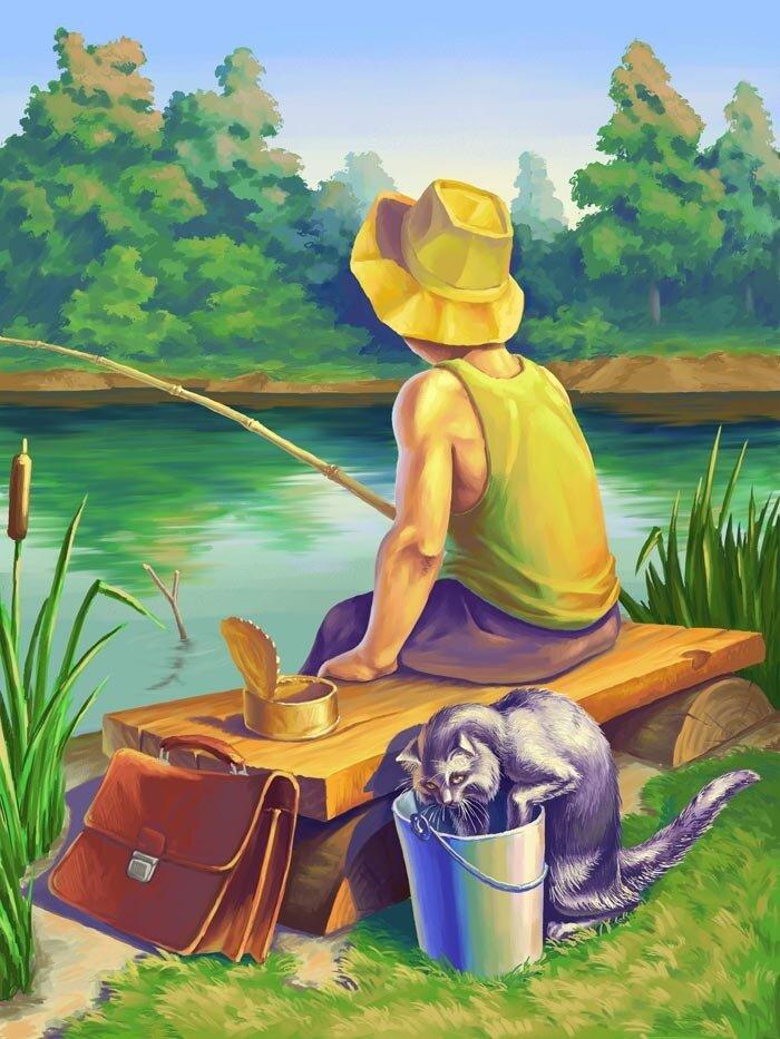 Картинка мальчик идет на рыбалку