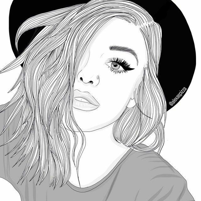 Черно белая картинка девушки нарисованные