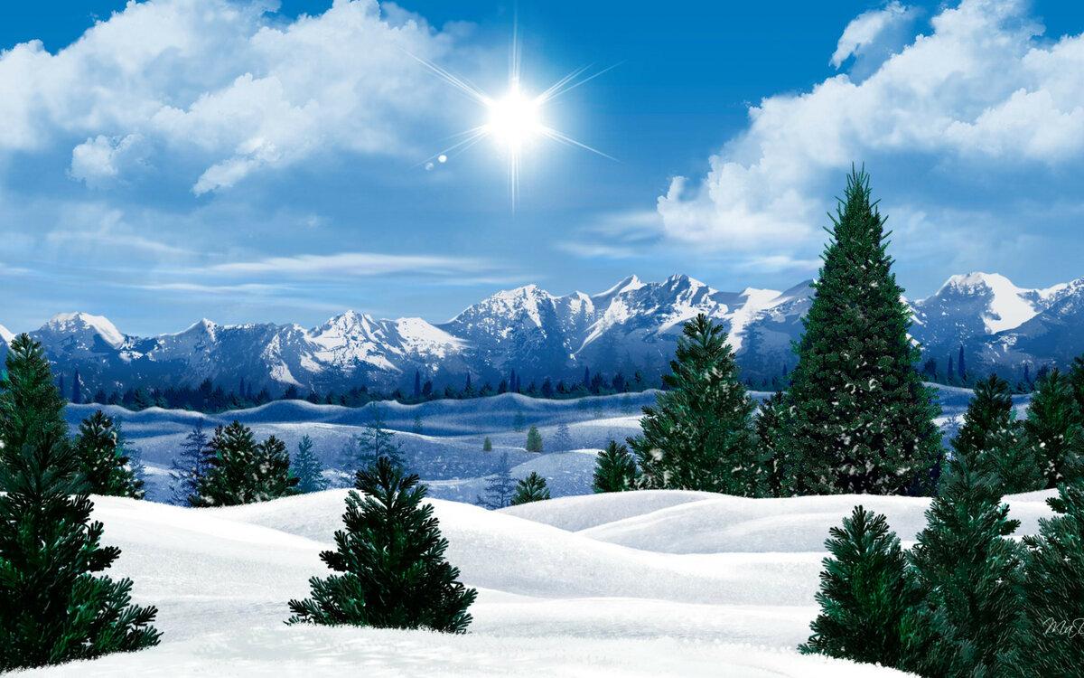 Очень красивая зимняя картинка на рабочий стол здесь
