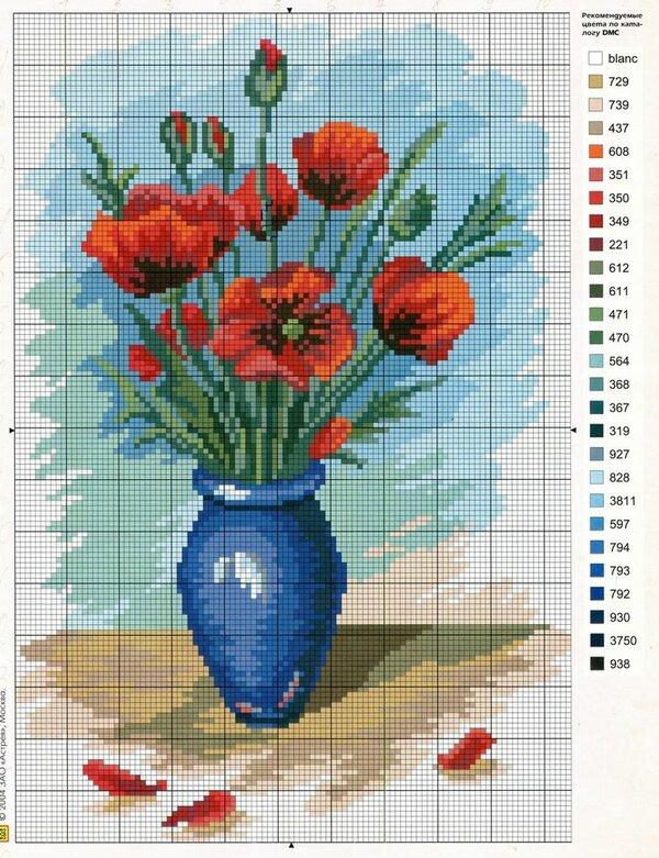 Схема вышивки крестом цветы в вазе