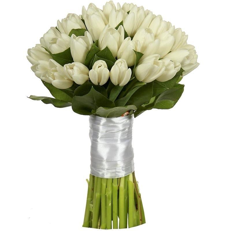 Цветов, букет невесты из тюльпанов 25 штук фото