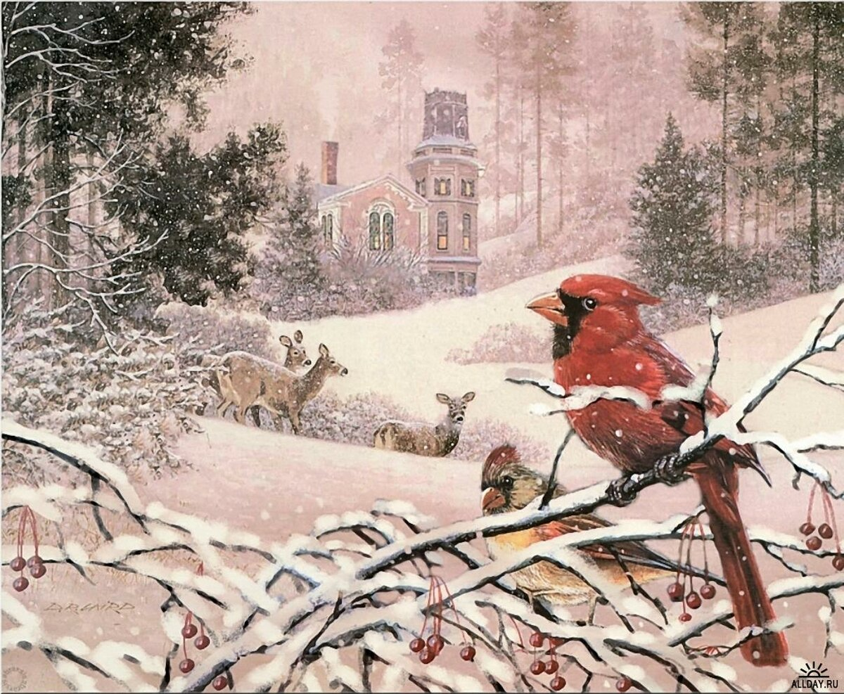 С первым днем зимы винтаж картинки