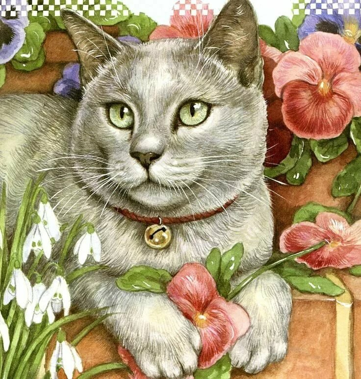 Котики открытки рисованные