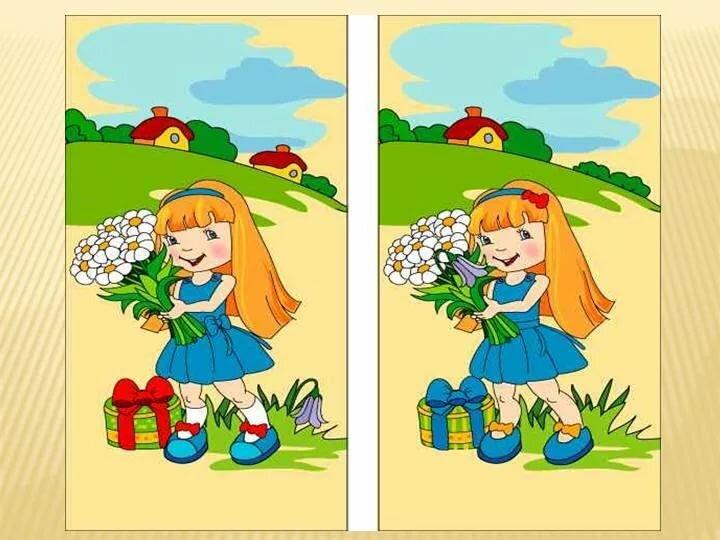 Днем, игра собери картинки и найди отличия на двух картинках