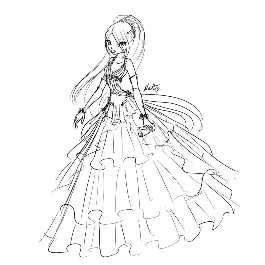 Винкс муза раскраска в платье