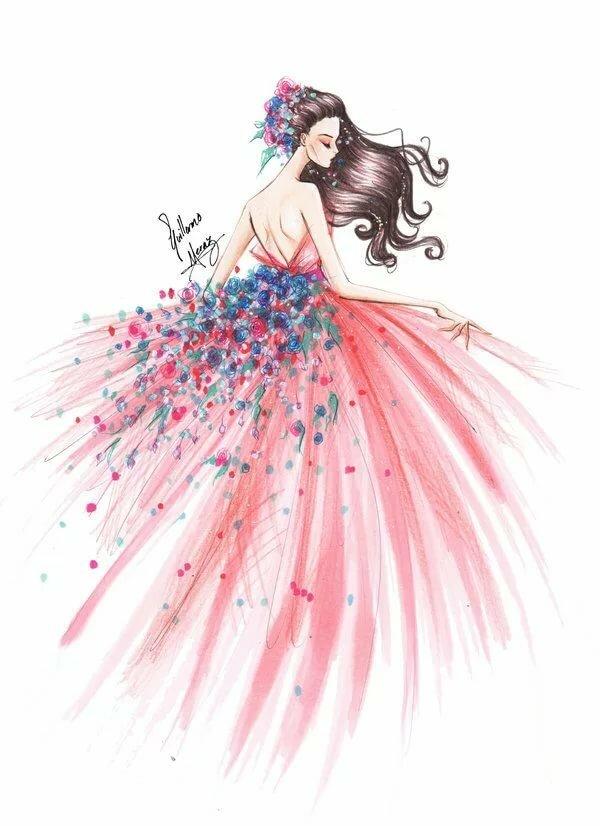 Днем, картинки девочки в платье нарисованные