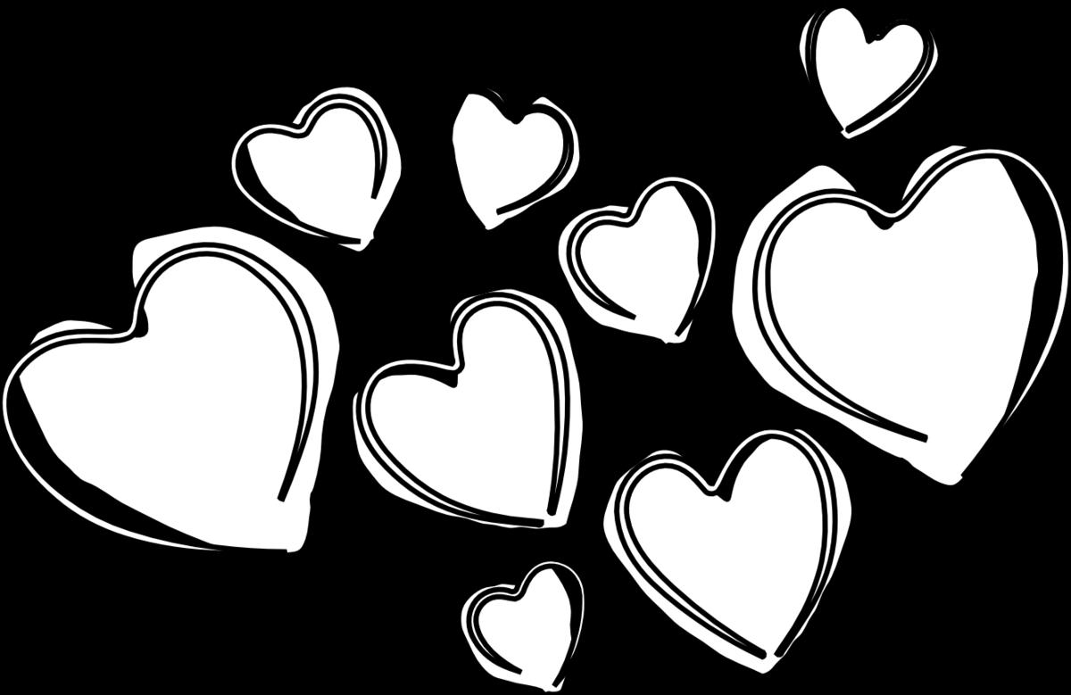 картинки сердечек черно белые найдешь множество