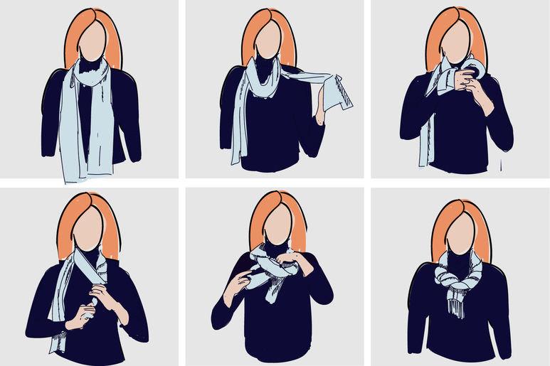 Способы завязывать шарф на картинках