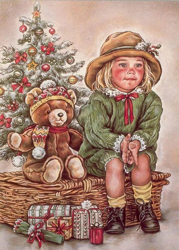 Ретро картинки рождество дети, открытки детьми