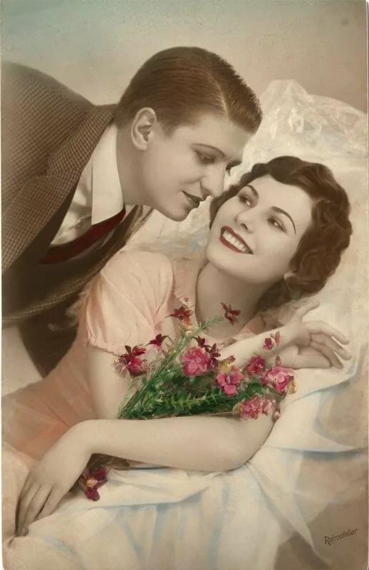 Открытка, картинки ретро про любовь