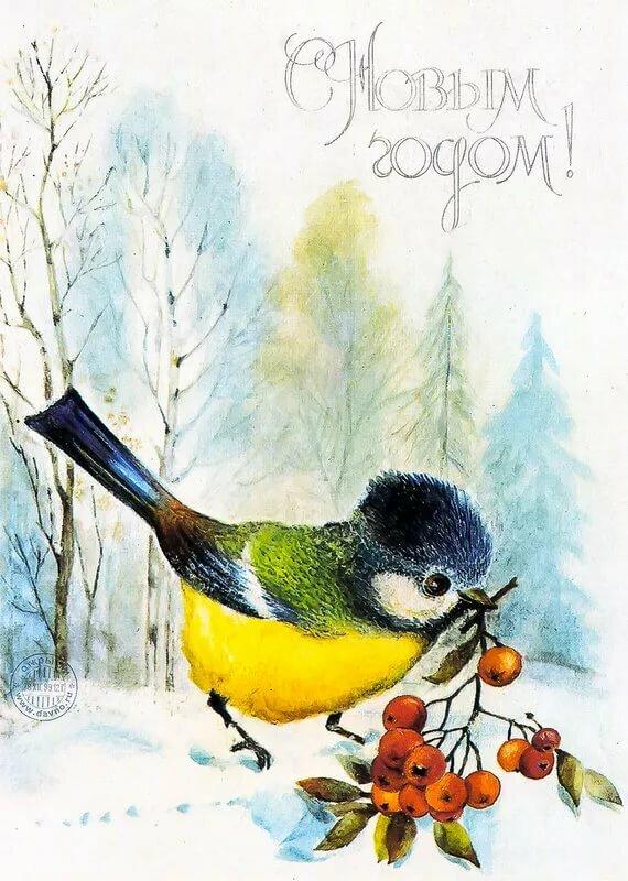 Зимние ретро открытки ссср