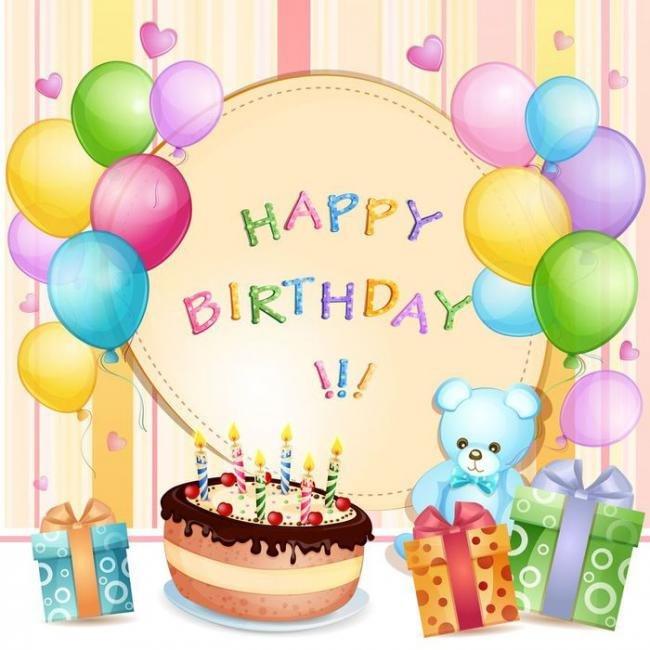 Детская открытка ко дню рождения, открытка день