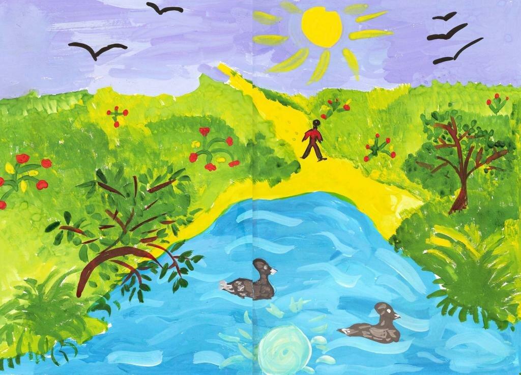 Рисунок на тему лето в детский сад, цветка