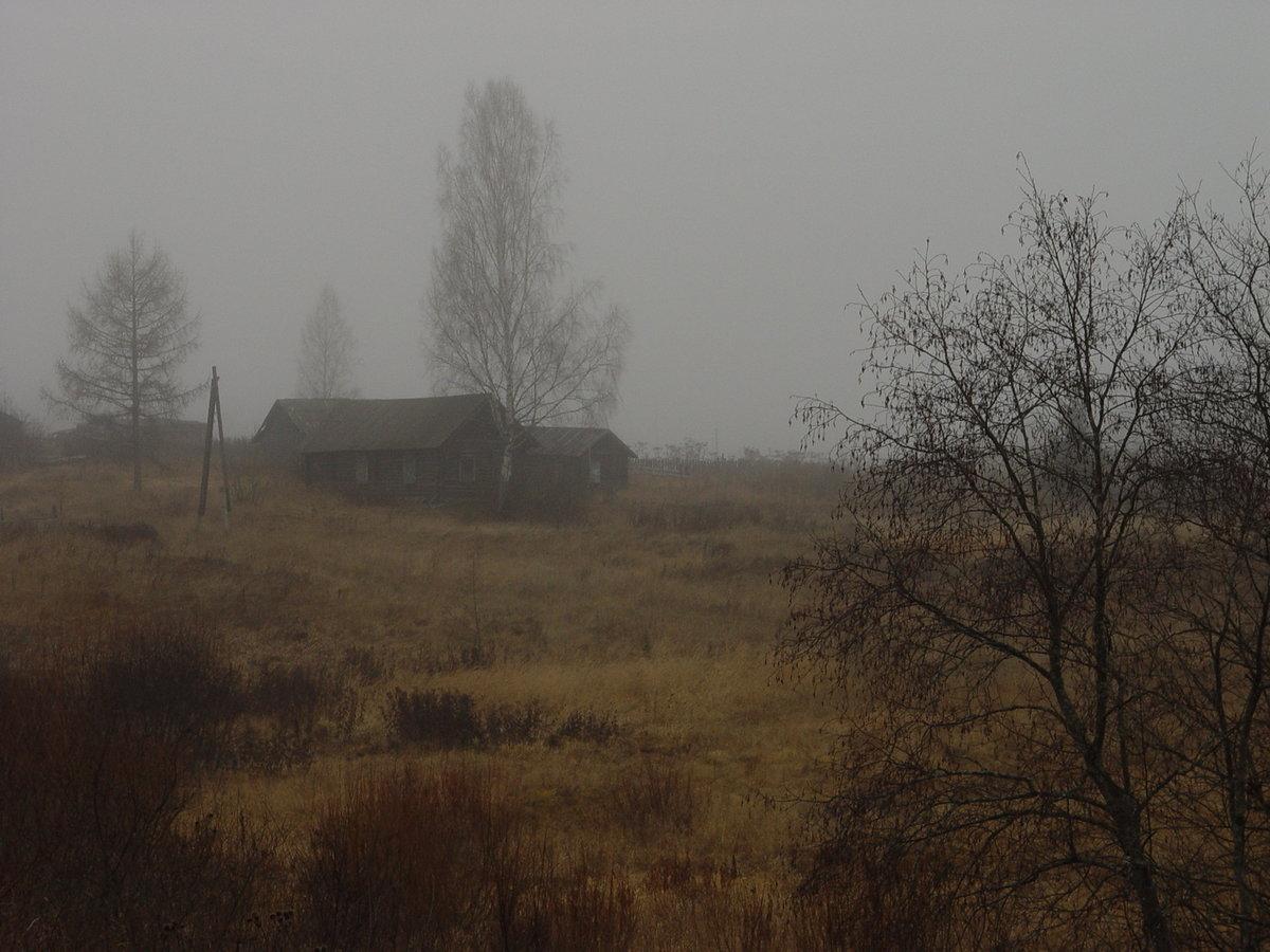 Домики едва видны в осеннем тумане