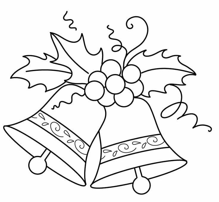 картинки раскраски колокольчики новогодние качестве