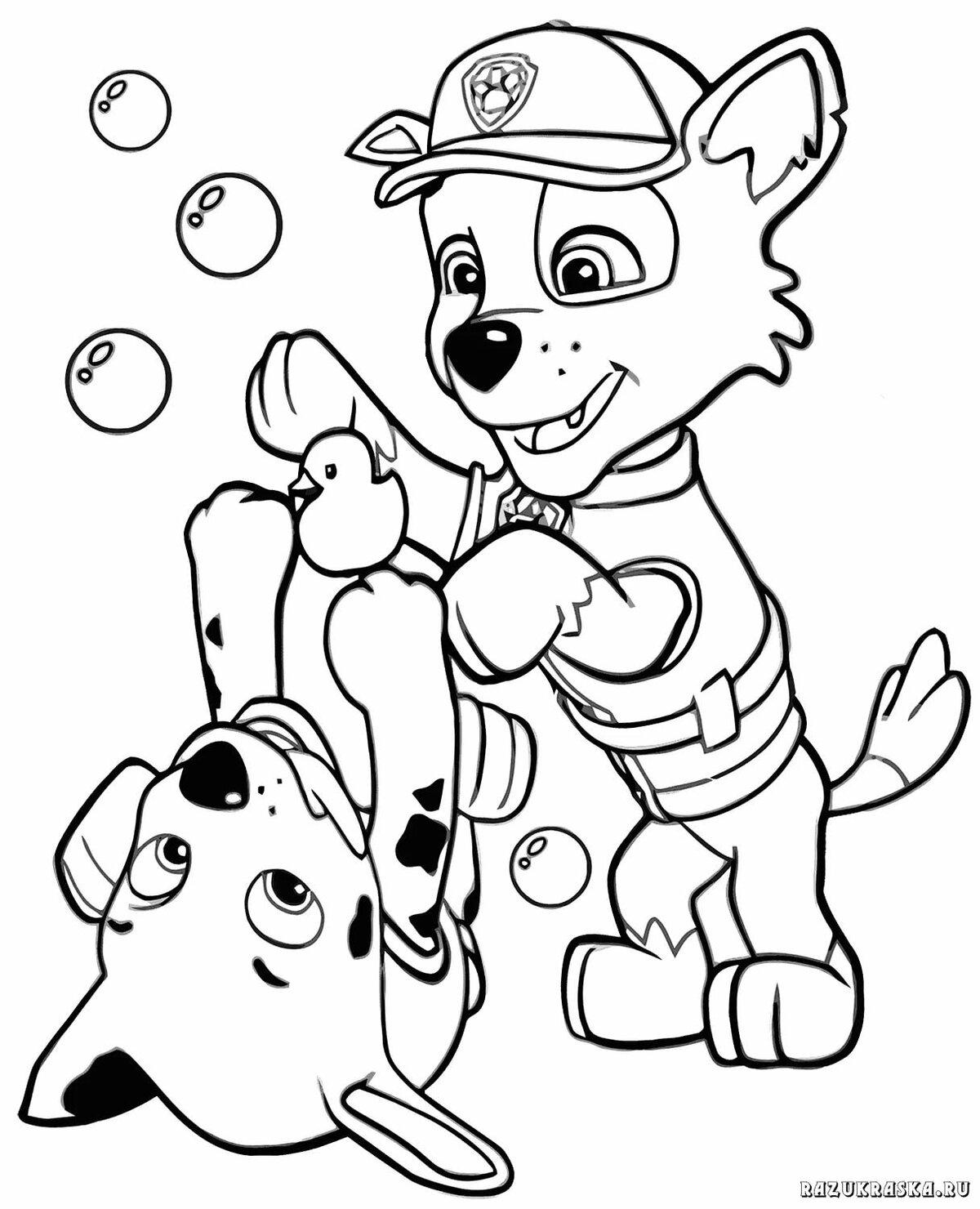 Раскраска щенячий патруль новый год распечатать