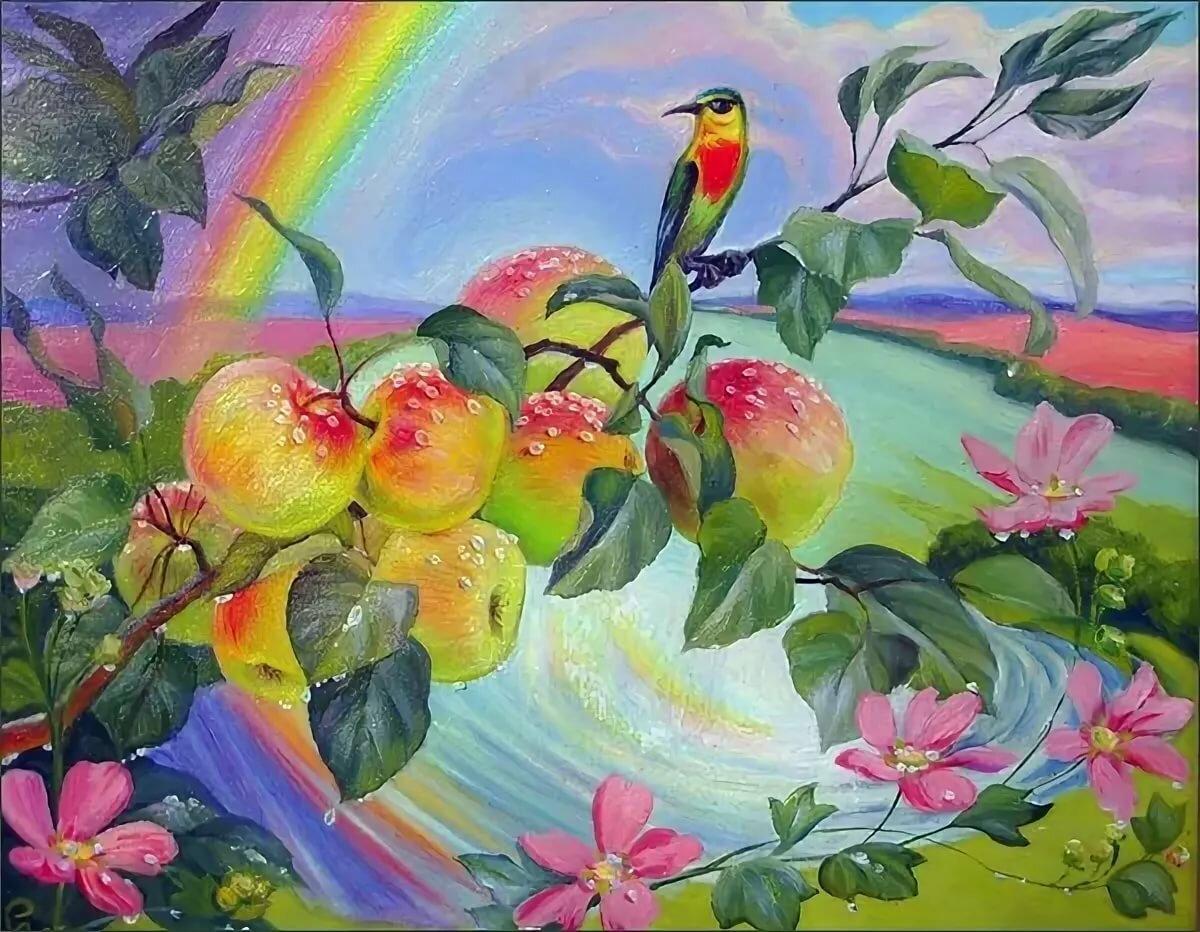 Картинка для детей яблоневый сад