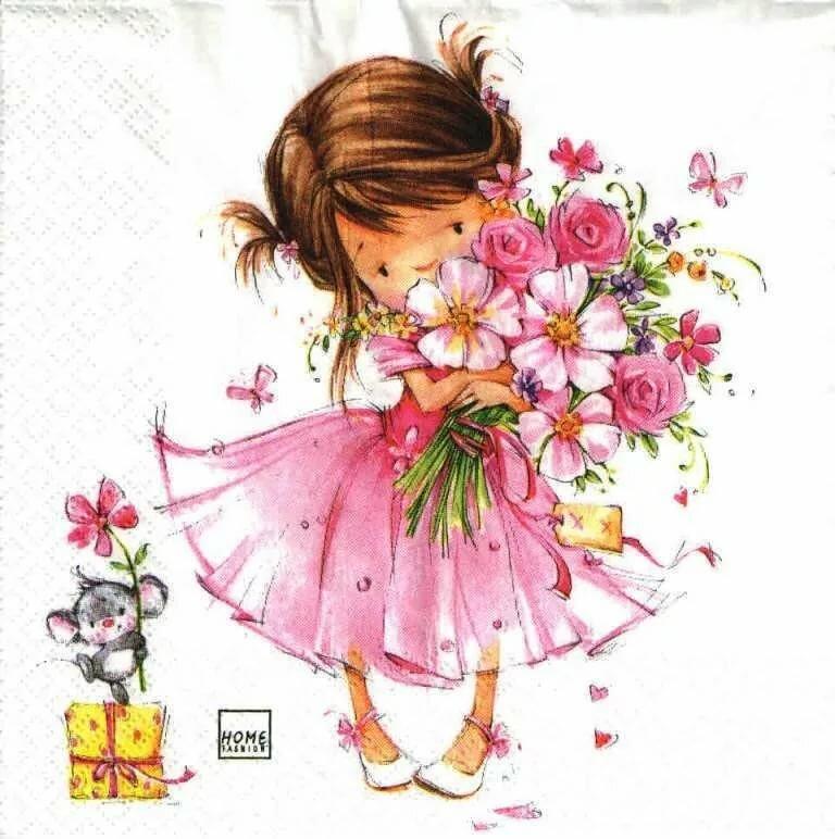 Анимация, открытка девочка с цветами рисунок