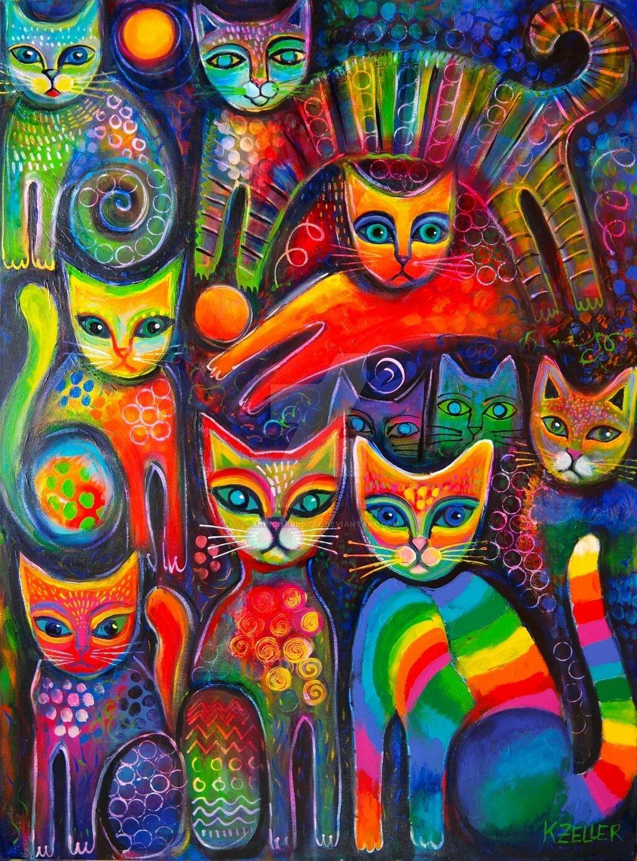 картинка разноцветные коты слову, оказался единственным