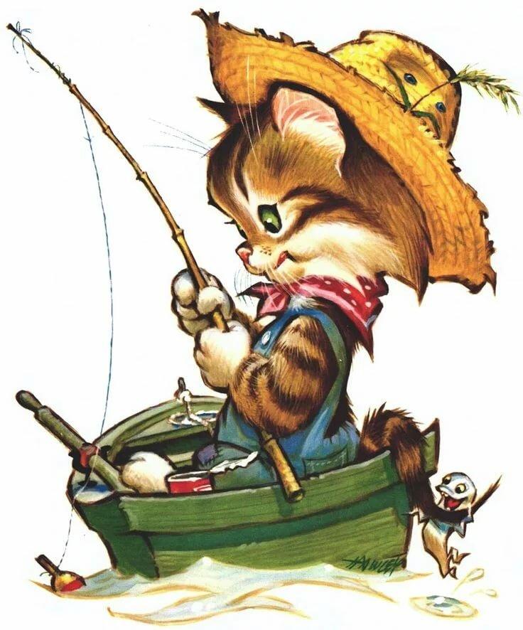 Подписать, картинки кот на рыбалке с удочкой