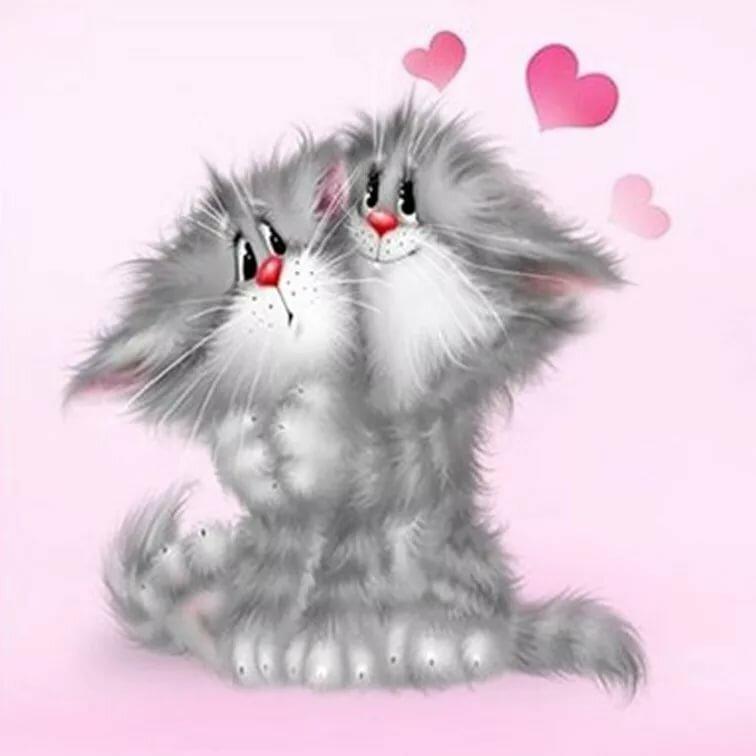 Открытки любимой с котами