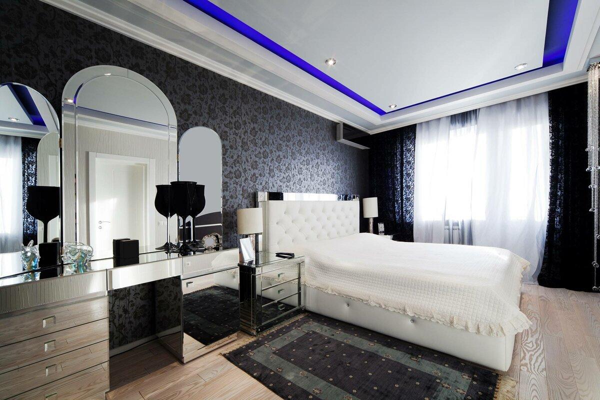 фото комнат с черными натяжными потолками воздушных шаров