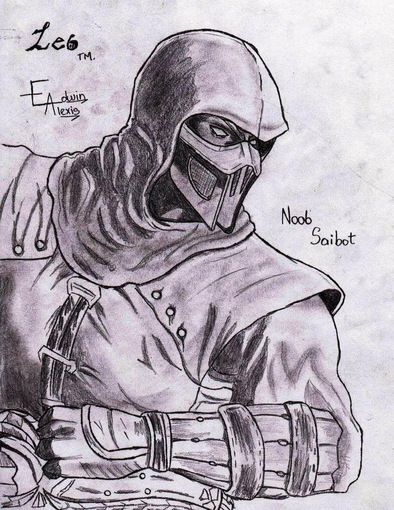 Картинки для срисовки скорпион из мортал комбат