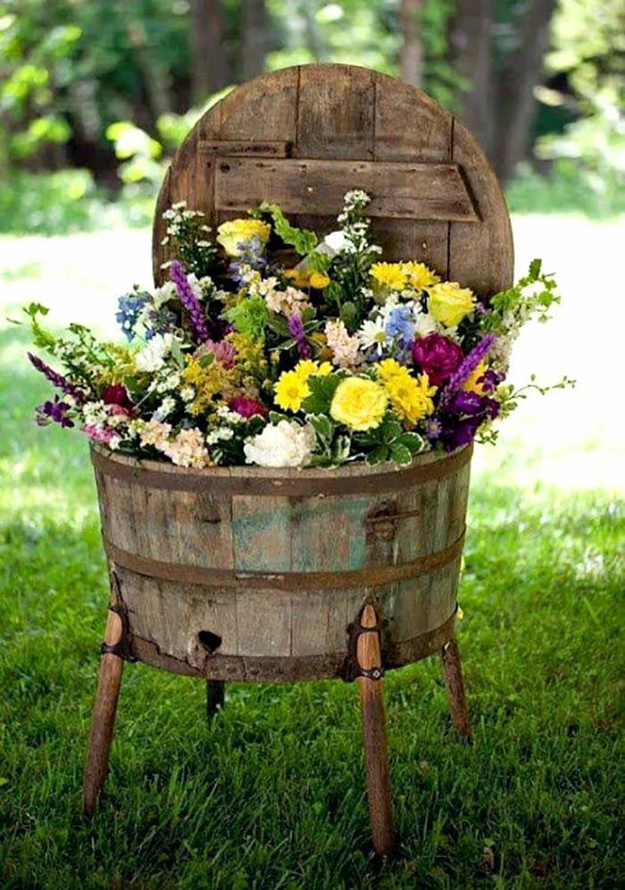 украшение дачи цветами