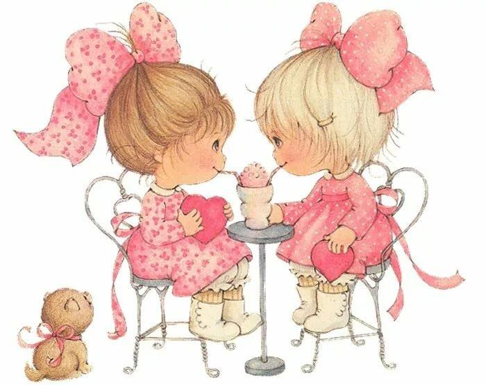 Поздравлением днем, с днем рождения девочек близняшек старинные открытки
