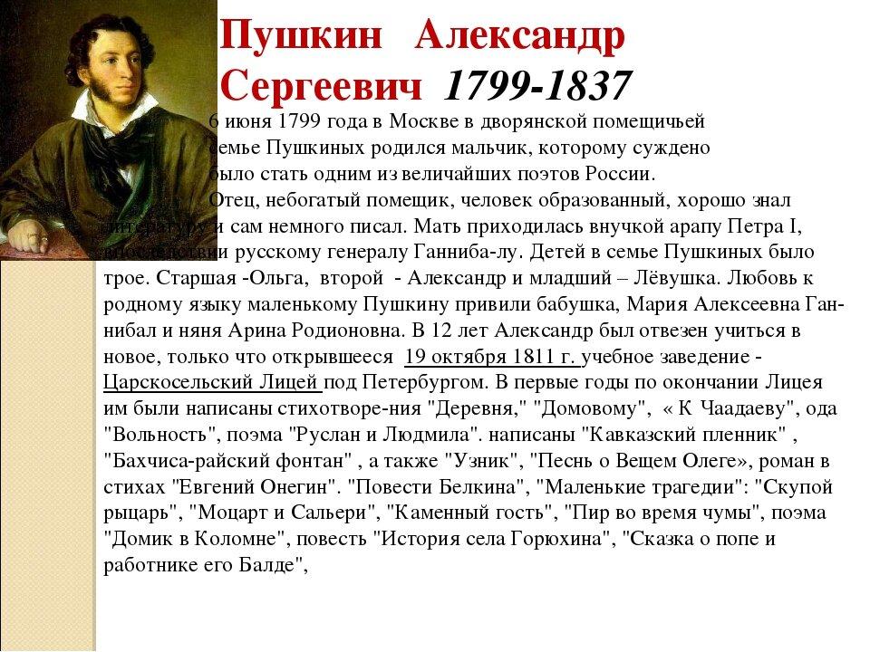 Пушкин краткая биография с картинками