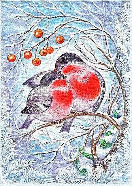 Картинка со снегирями рисовать