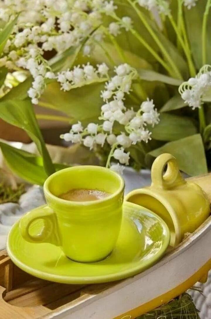 Розовыми, картинки кофе и чай весенние