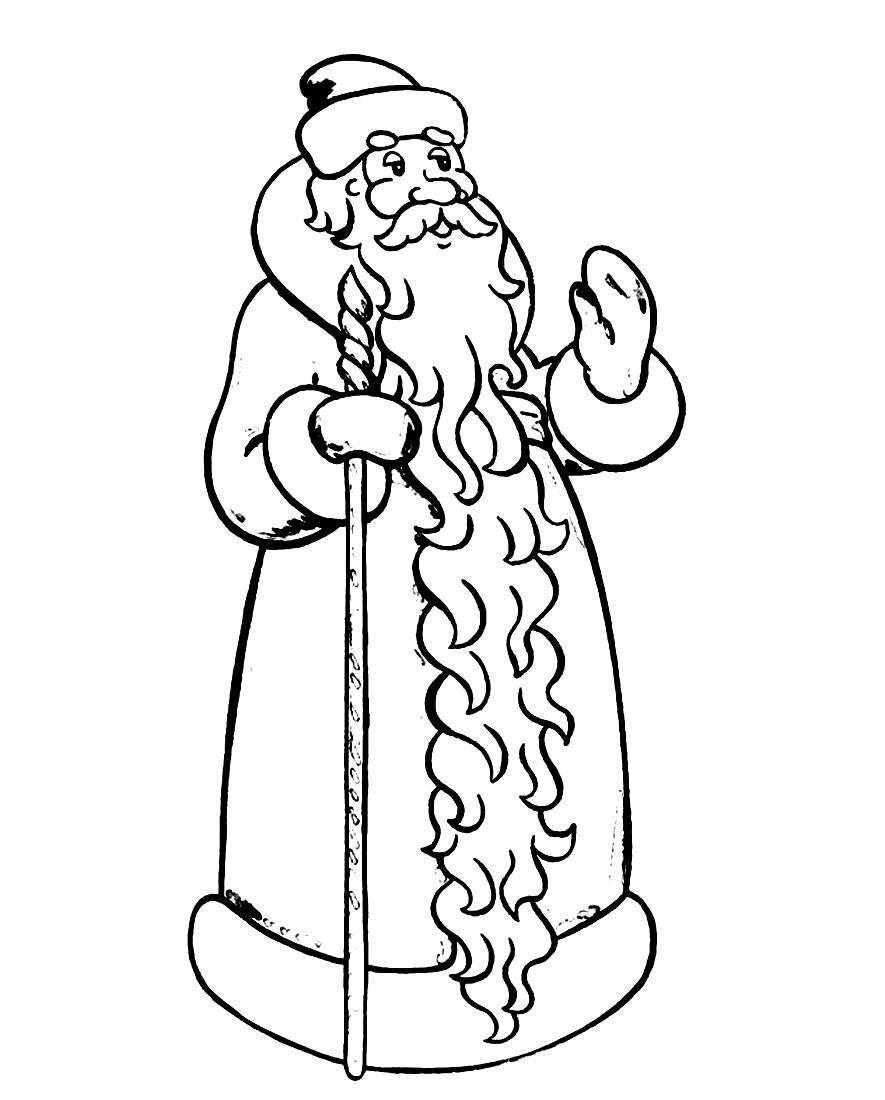 Дед мороз раскраска, зверек картинка