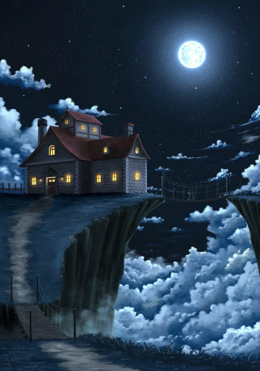 домики ночью картинки главного героя