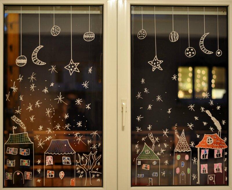 Самые красивые картинки для нового года на окна, для