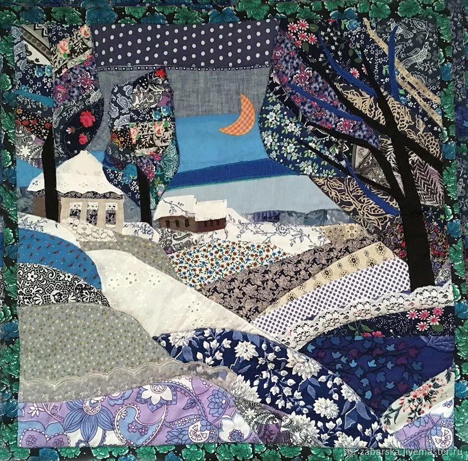 Картинки из кусочков ткани, открытку