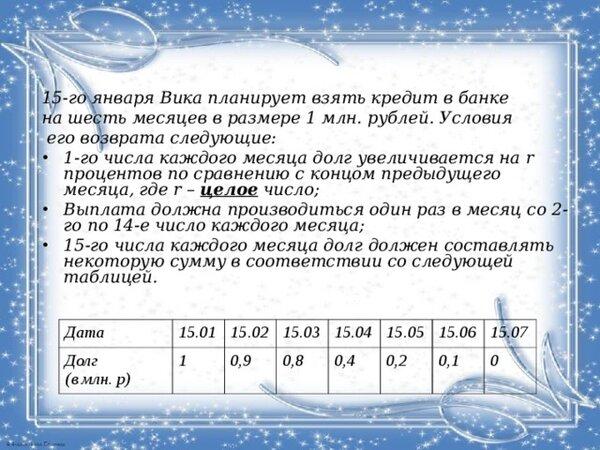 планируется взять льготный кредит на целое число миллионов рублей на 4 года 15 отп банк потребительские кредиты возраст