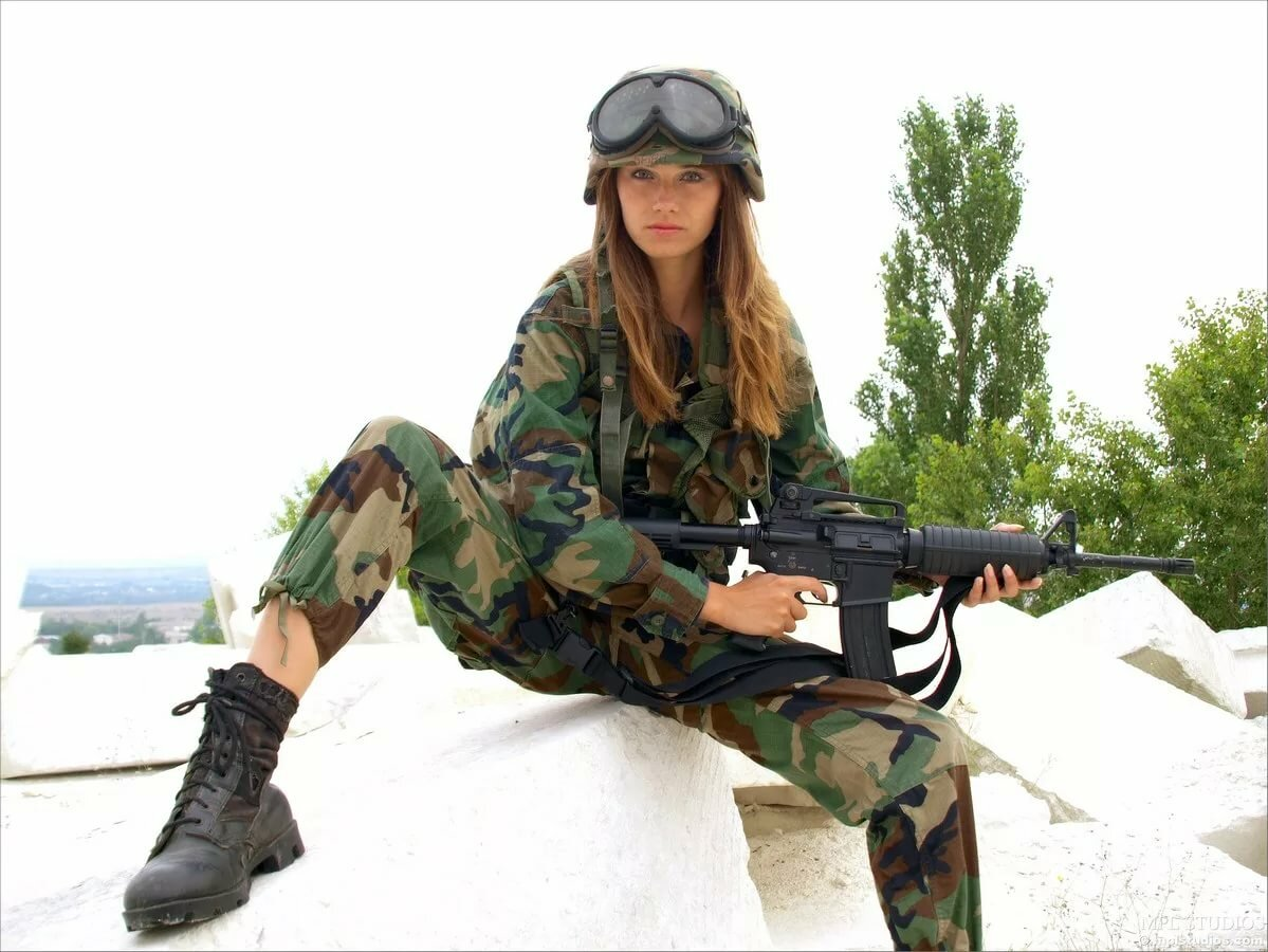 Pictures of girl trying on camouflage com asian