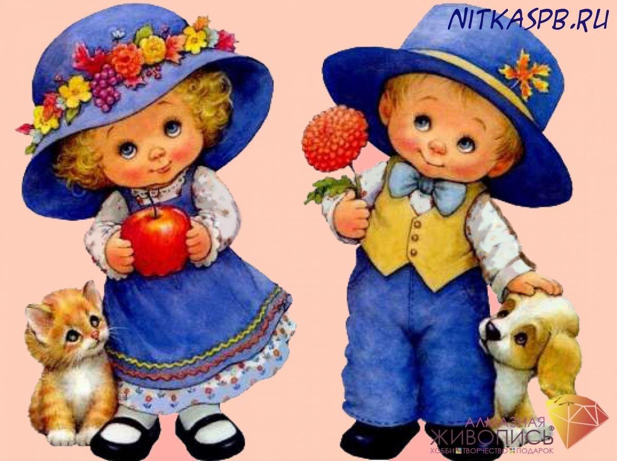 Картинка мальчик с девочкой для детей, открытка открытки цветами