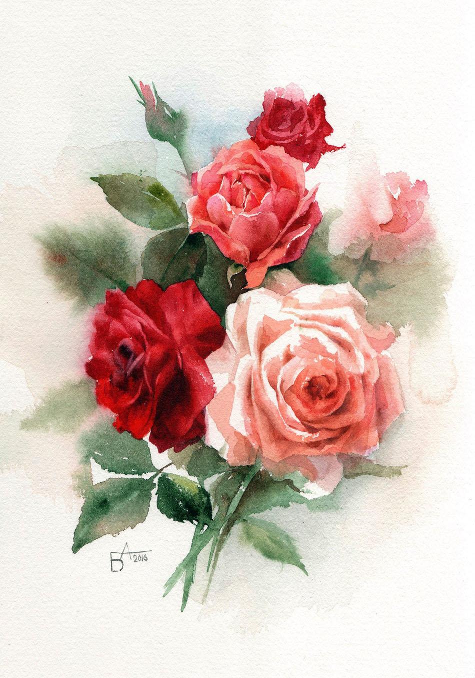 Открытки с рисунком розы, про