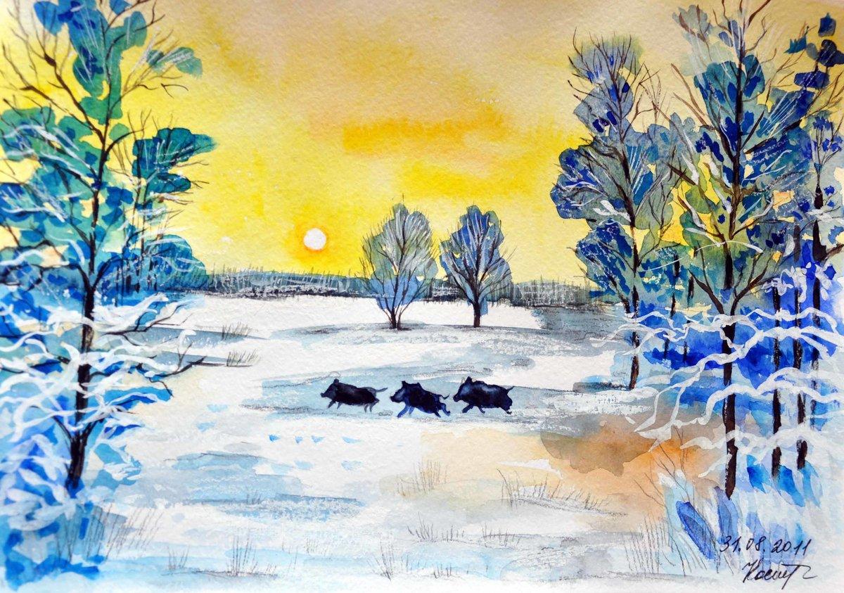 Картинка рисунки детей зимний пейзаж