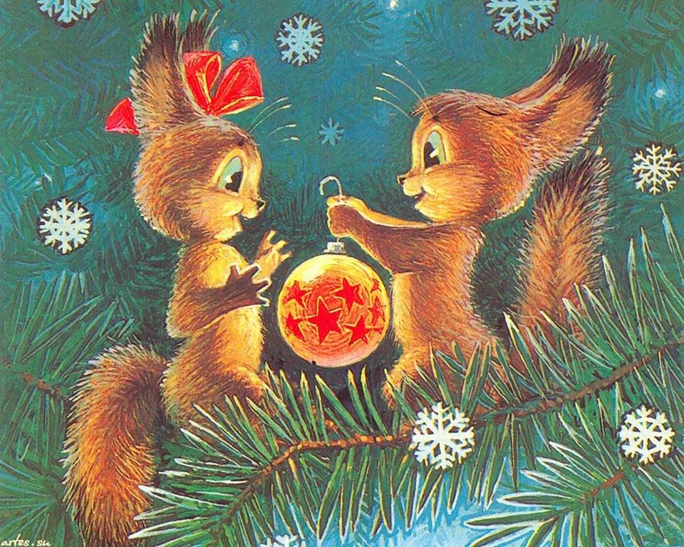 Новогодняя советская открытка в высоком разрешении