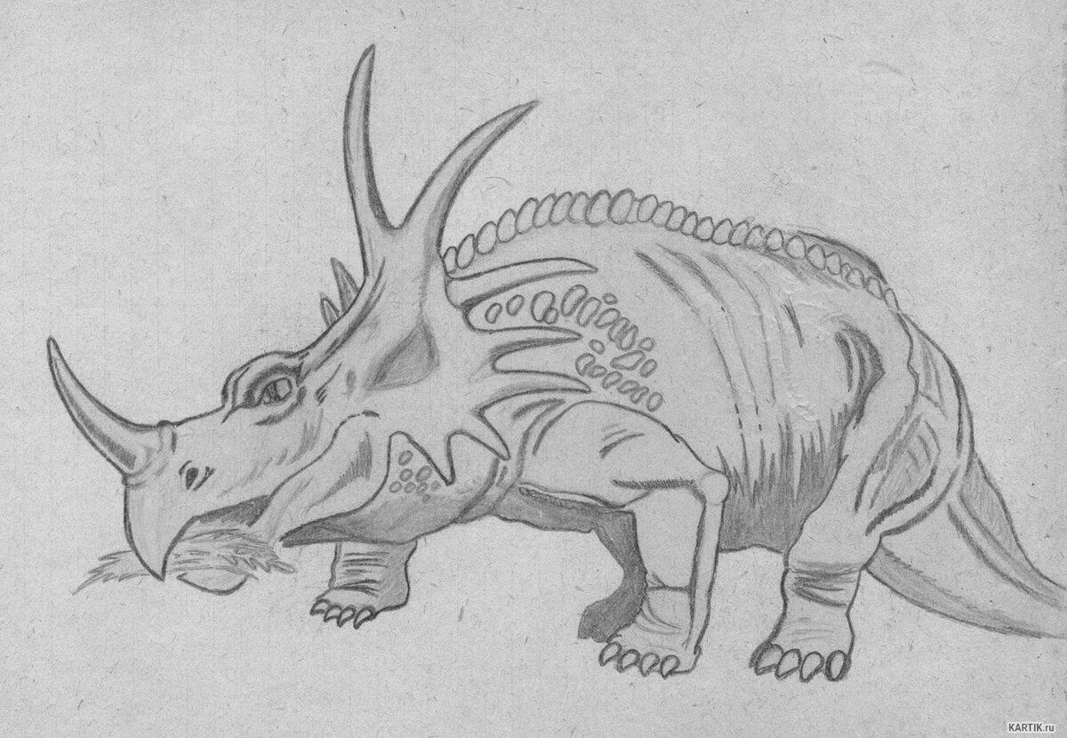 легкие рисунки динозавров карандашом такого торта