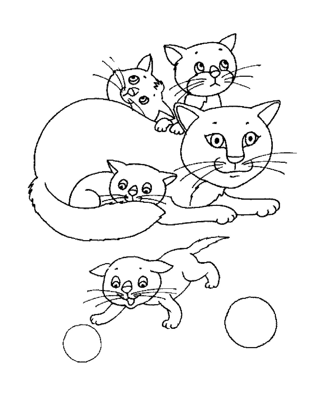 Кошка с котятами рисунок