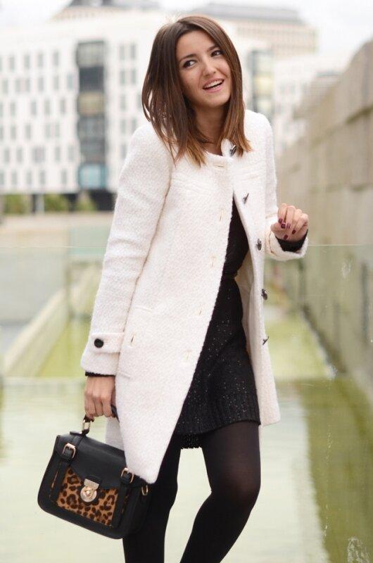 короткое белое пальто с чем носить фото