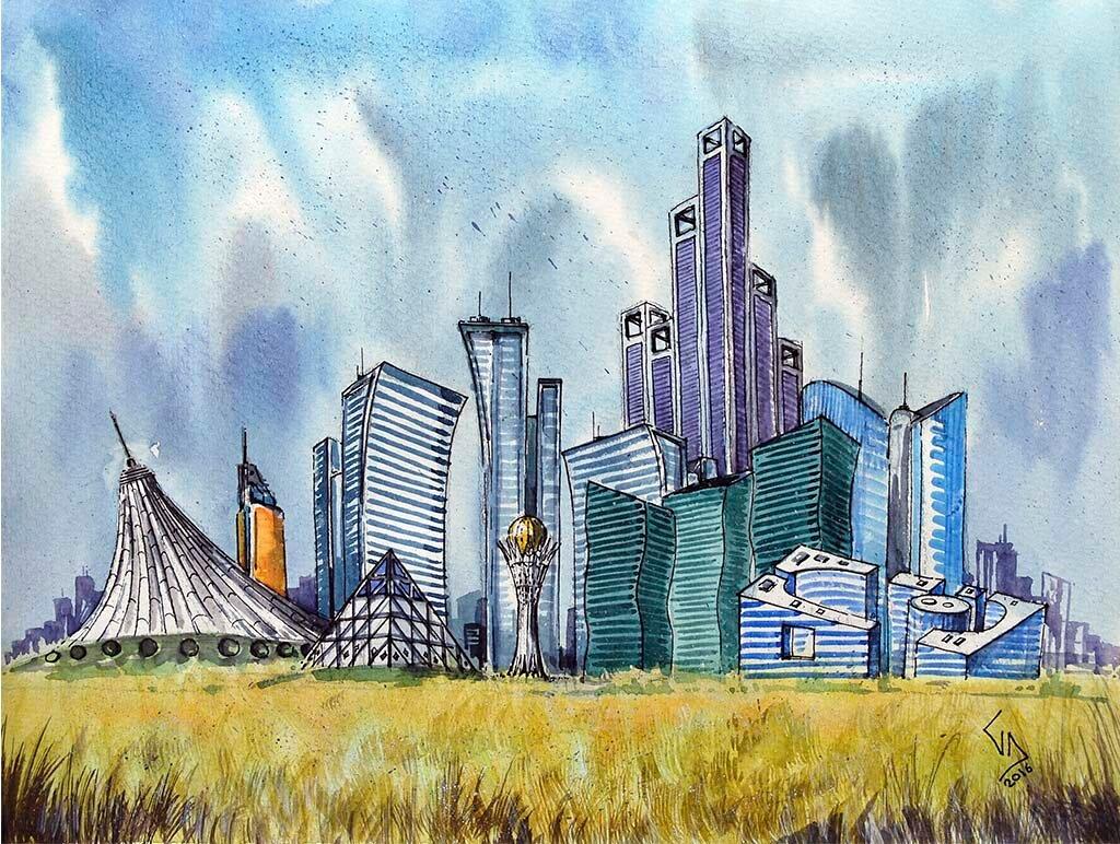 Астана рисунок для детей