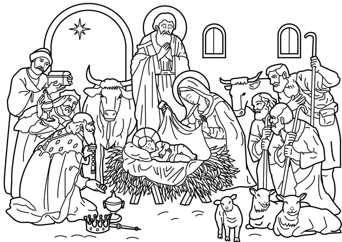 Картинка рождество христово для детей черно белые, днем
