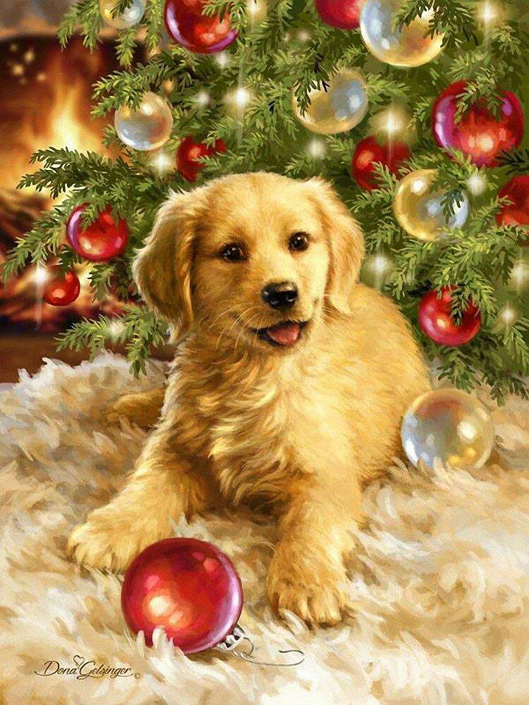 Открытки с собаками на новый год, форме