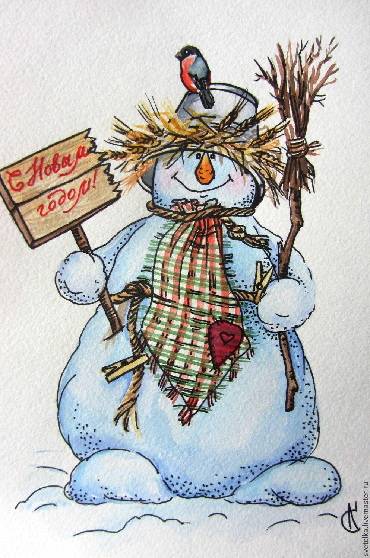 Рождественские снеговики открытки
